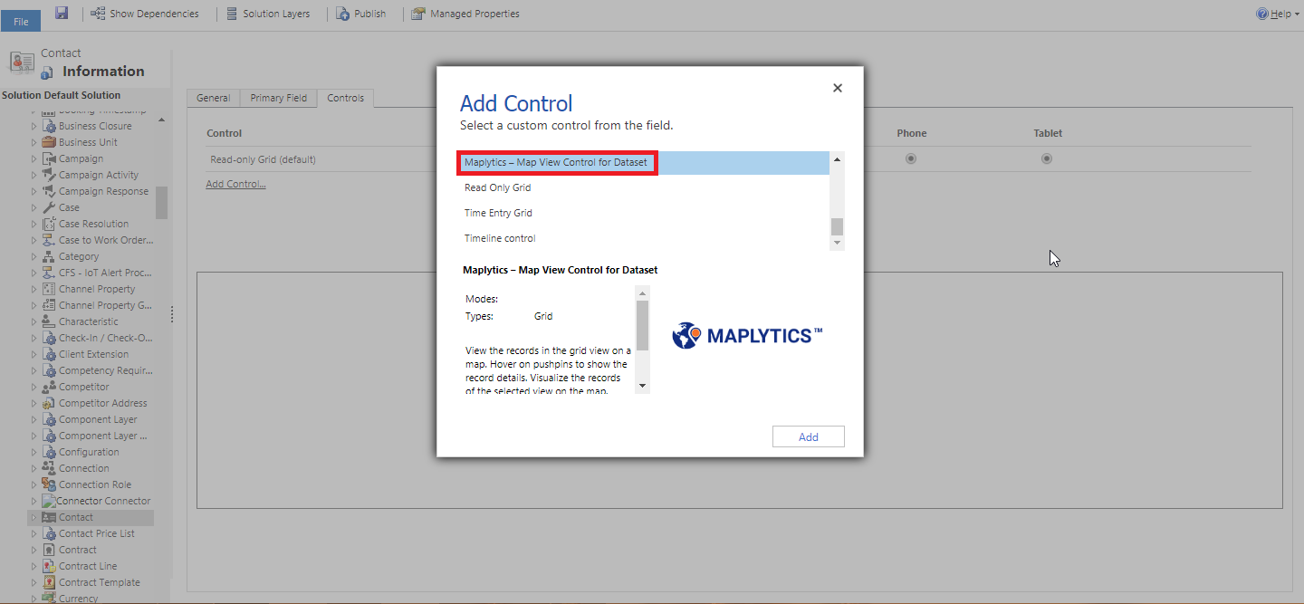 How to add Map View Control for Dataset within Dynamics 365 CRM